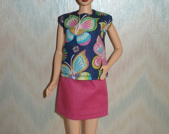 """Handmade 11.5"""" fashion doll clothes - butterfly print top and pink skirt"""