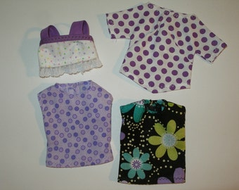 "Handmade 11.5"" fashion doll clothes - Pack of 4 tops"