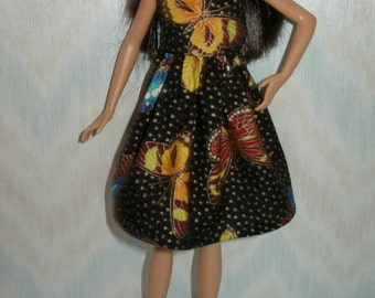 """Handmade 10.5"""" teen sister fashion doll clothes - black and gold butterfly dress"""