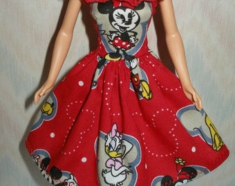 Handmade Barbie clothes - Red minnie and friends cotton print dress