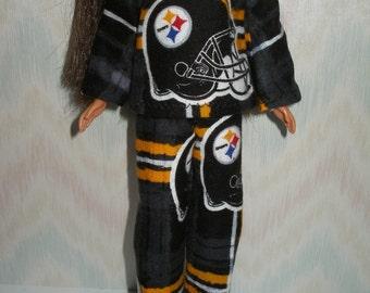 "Handmade 11.5"" fashion doll clothes -  steelers plaid flannel pajamas"