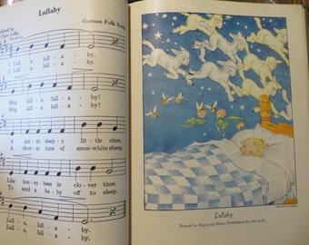 Vintage Childrens Song Book-Hardback-Paper-Ephemera-Supplies-Illustrated-1936 Copyright-First Edition