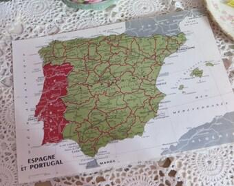 Original Color Atlas Map-Book Plate-Bookplate-French-Spain