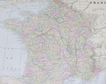 1891 Original Color Atlas Map-Art-122 years Old-France