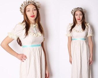ON SALE 65% ends May 1st Edwardian Wedding Dress / Wedding Dress / Dress / Dresses / Vintage Dress / Long Dress / Blue / Boho / Bohemian / 1