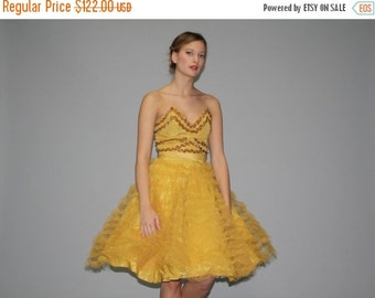 ON SALE 65% ends May 1st 1950s Mustard Showgirl Ballerina Sequin Dress  - Vintage 50s Mustard Dress - 50s Yellow Dress  - Vintage Prom Dress