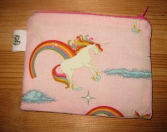 Zippered Coin Purse Wallet Organizer - Unicorns and Rainbows print