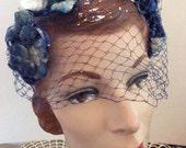 Vintage 1950s Hat Blue Velvet Leaves & Berries Veiling