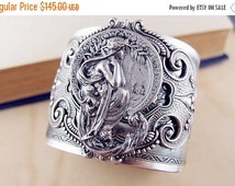CLEAROUT SALE 40% OFF Persephone--- 2 Inch Vintage sterling silver plated floral brass ornate sturdy filigree art nouveau goddess cameo wide