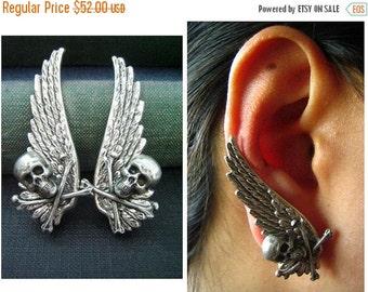 CLEAROUT SALE 40% OFF Ear cuff No Piercing--ox sterling silver plated brass wing skull earrings, E462