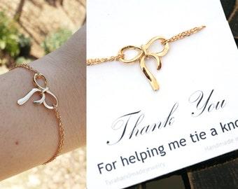 Gold bow bracelet,Knot bracelet,infinity knot bracelet,infinity bracelet,friendship bracelet,sister bracelet,bridesmaid gift,wedding jewelry