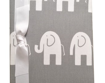 Tight Bound Baby Memory Book - Grey and White Elephants