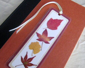 Red and Yellow Pressed Fall Autumn Leaves Laminated Bookmark