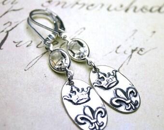 ON SALE French Crown Earrings - Swarovski Crystal and Fleur-de-Lis Earrings in Clear Crystal - Sterling Silver Leverbacks