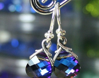 ON SALE Briolette Crystal Earrings in Bermuda Blue - Sapphire Blue - Swarovski Crystal and Sterling Silver
