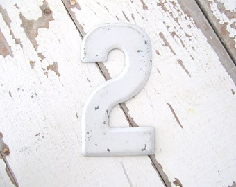 Vintage Small Metal Sign Number - 2