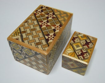 Japanese Puzzle box (Himitsu bako) The Nested box-3.0inch 5steps and 1.7inch 10steps Yosegi