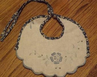 Handmade Baby Bib With Vintage Linen Embellishment