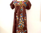Vintage Brown Embroidered Mexican Dress - Brown Embroidery 70s Boho Mexican Dress - Cotton Hippie Festival Dress - Size Small estimated