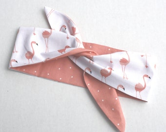 Vintage Inspired Headscarf, Flamingos, Coral Pink, Retro, Rockabella
