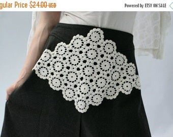 CLEARANCE SALE Upcycled Embellished Reclaimed Skirt Charcoal Gray Crocheted White Doily