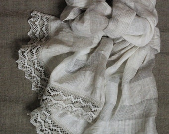 Wedding shawl with lace striped lightweight linen scarf long semi sheer natural linen scarf gift for lady