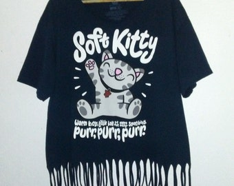 Cat T Shirt / Fringe Tee / Tassle Top / Cute / Cat Lover / Cat Lady / Cat Mom / Kitten / Kitty / Indie / Boho / Grunge / Dark Blue / Cute
