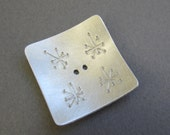 Retro Atomic Stars Button silvertone metal square 1 inch asymmetric pattern artisan handmade