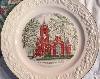 VIntage Dinner Plate Main Street Methodist Church Gastonia, NC HLC Made in The USA #3472