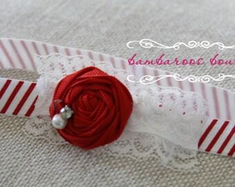 red baby headband, Christmas Newborn photography prop, petite vintage rosette on lace, newborn headband, vintage headband, vintage headband