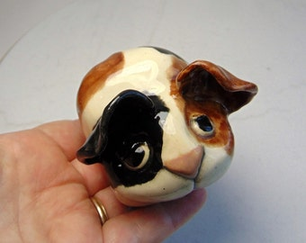 Guinea Pig Sculpture - Hand Built Pottery - Clay Animal - Pottery Animal - Brown and White - Ceramic Hedge Hog - Folk Art Animal