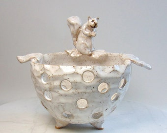 Squirrel Orchid Planter - Candle Holder - Tealight Holder - Wheel Thrown  - Carved Pottery - Animal Sculpture - Clay Squirrel  - Albino