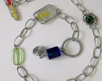 Heavy fob chain,toggle, glass and wire, colourful