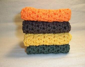 "Set of 4 Handmade Crochet Dish/Bath Cloths,Wash Cloths  - 7"" x 7"" 100% Cotton"