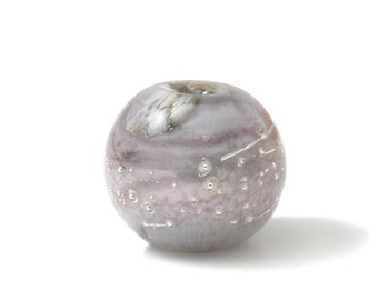 Focal Bead - Lampwork Glass Focal Bead - Round Lilac Focal Bead - Large Round Bead - Handmade Glass Bead - UK SRA