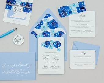 Modern Blue Floral Wedding Invitations,Modern Floral Watercolor Wedding Invitation Set,Rustic Blue Floral Printable Wedding Invite,Boho Blue