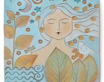 Art,clay, ceramic, Woman, dreamer,Ceramic tile, 6 x 6 inch, hand painted ceramic tile,wall decor
