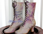 Reserved for Lyn Victorian Boots Serenity Iris printed leather Victorian Ankle boots Edwardian shoes Wedding shoes