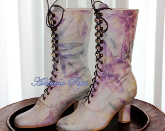 Victorian Boots Serenity Iris printed leather Victorian Ankle boots Edwardian shoes Wedding shoes