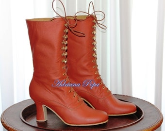 BIG SALE Victorian Boots in Cayenne colour / Orange leather Victorian Boots Ankle boots Custom Victorian shoes