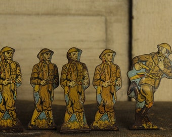 SALE- Antique Marx Toy Soldiers, WWI Stand-up Metal Figurines, Antique Toy, Collectible 1930's Soldiers of Fortune, Old Tin Toy Set