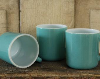 Vintage Achor Hocking Glass Coffee/Tea Mugs, Retro Aqua, Retro Serving, 1950's Anchor Hocking Mug Set, Petite Matching Mugs, Vintage Serving