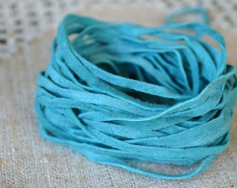 5 meters of 3mm x 0.5mm Genuine Turquoise Flat Suede Leather Lace