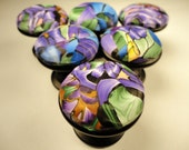 Cabinet Knobs Pulls drawer knobs 8 unique handmade knobs Polymer Clay  Knobs  purple green   Polymer Clay over METAL
