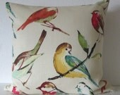 Ethan Allen Tweety Poppy birdwatcher meadow tea stain brown teal red decorative pillow cover