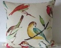 Ethan Allen Tweety Poppy birdwatcher meadow tea stain brown teal red decorative pillow cover