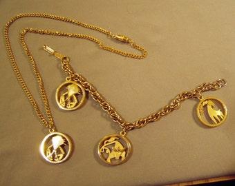 Vintage Zodiac Charm Bracelet Pendant Necklace Set Taurus Cancer Aries Yellow Gold Tone 8556