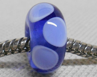 Large Hole Lampwork Bead Fits European Charm Bracelets Transparent Blue with White and Blue Dots