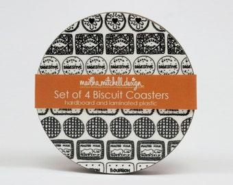 Biscuit Coasters - Biscuit gift - Biscuit present - Biscuit drawing - Foodie gift - Biscuit lover gift