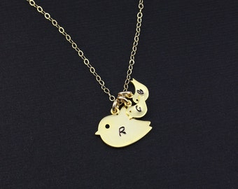 Mother Wife Necklace, Gold Bird Necklace, Personalized Jewelry, Monogram Jewelry, Gold or Silver, Add more Initial Baby birds/Gift for Her